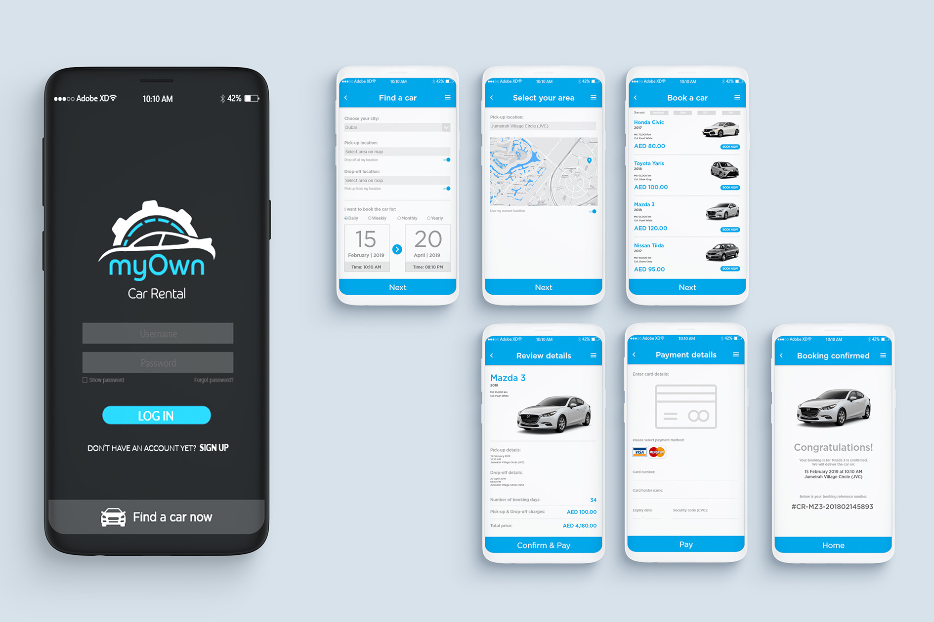 UI Design Kit | Rent A Car Company - Kiran Qureshi | Creative